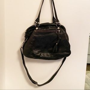 Slouchy soft Black leather two way purse bag